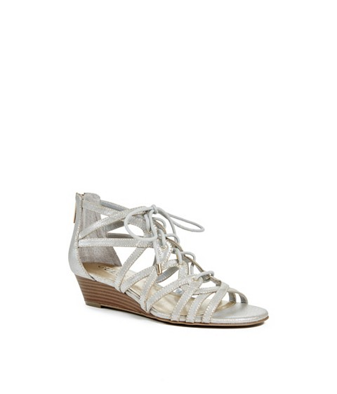 Incaltaminte Femei GUESS Zelene Metallic Lace-Up Sandals light natural leather