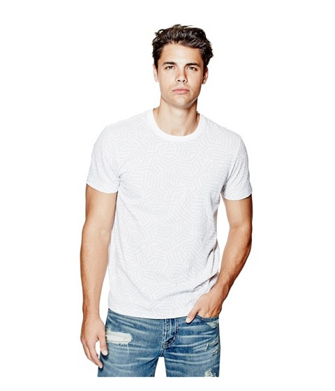 Imbracaminte Barbati GUESS Aren Crewneck Tee true white