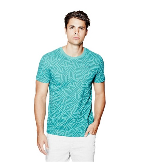 Imbracaminte Barbati GUESS Aren Crewneck Tee tropical green