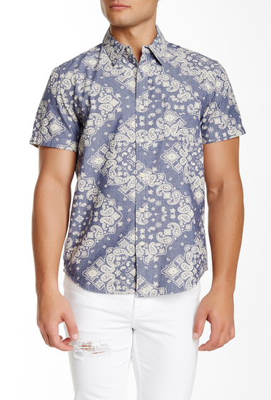 Imbracaminte Barbati Lucky Brand Regular Fit Short Sleeve Paisley Shirt BLUE