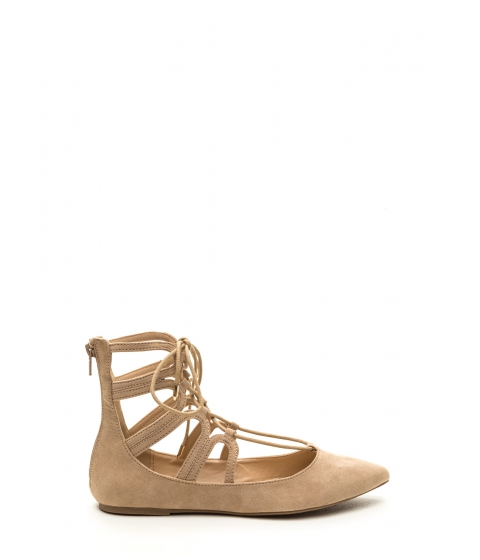 Incaltaminte Femei CheapChic Point Made Faux Suede Lace-up Flats Natural