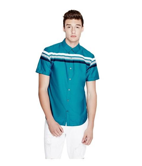 Imbracaminte Barbati GUESS Lain Short-Sleeve Poplin Shirt bermuda blue