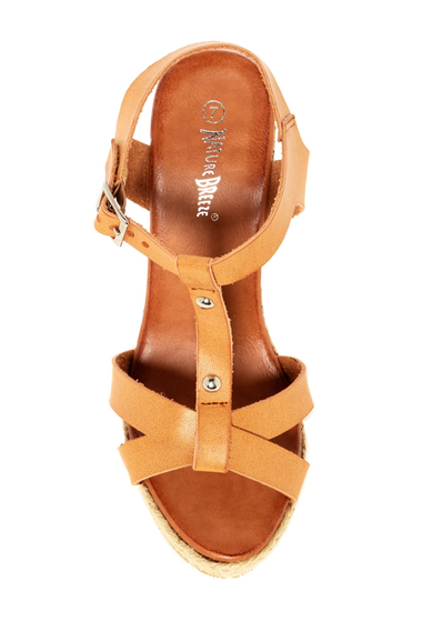 Incaltaminte Femei Nature Breeze Pati Wedge Sandal CAMEL PU