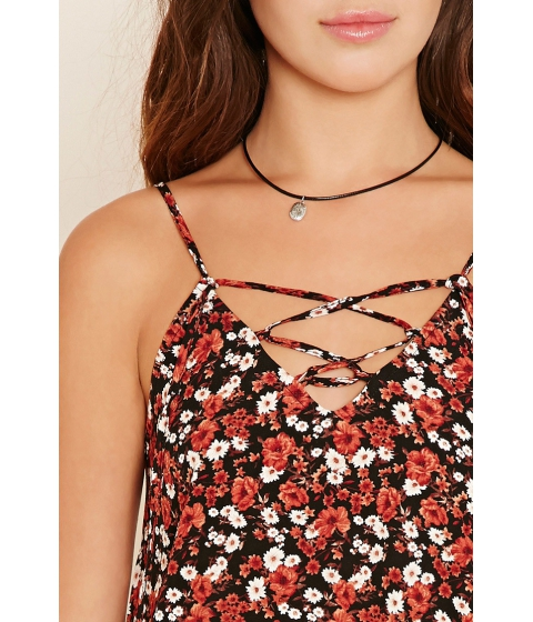 Imbracaminte Femei Forever21 Abstract Print Lace-Up Cami Blackred