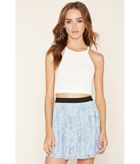 Imbracaminte Femei Forever21 Pleated Lace Mini Skirt Light blue