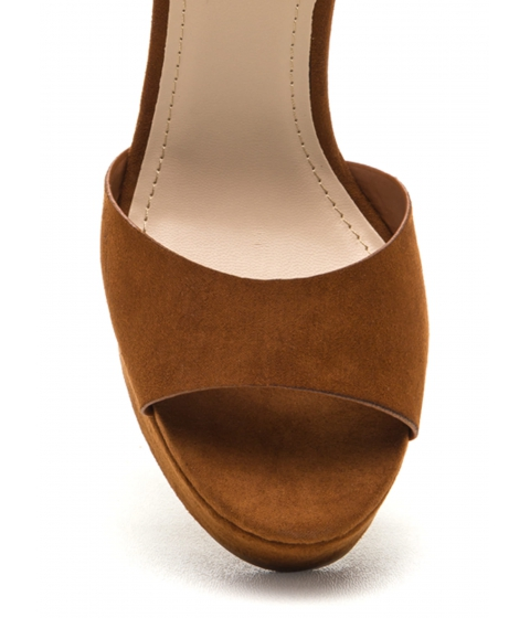 Incaltaminte Femei CheapChic All Mine Faux Suede Platform Wedges Chestnut