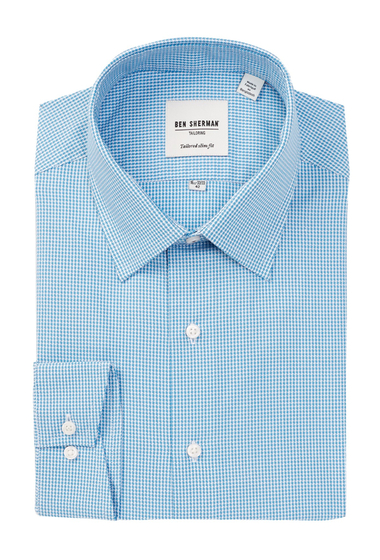 Imbracaminte Barbati Ben Sherman Long Sleeve Tailored Slim Fit Teal Houndstooth Dress Shirt TEAL