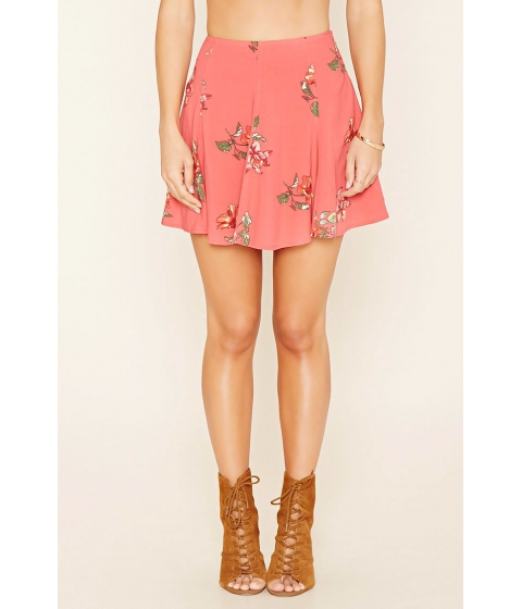 Imbracaminte Femei Forever21 Floral Print Skater Skirt Coralpink