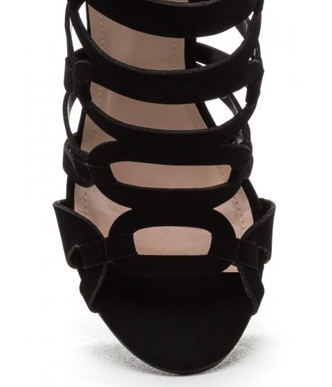 Incaltaminte Femei CheapChic Confidence Boost Faux Nubuck Caged Heels Black