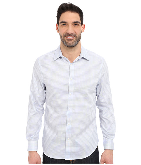 Imbracaminte Barbati Perry Ellis Long Sleeve Grid Check Non-Iron Shirt Kentucky Blue