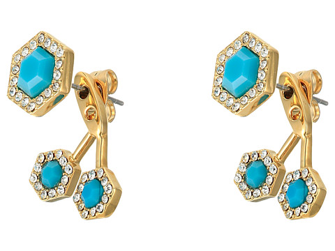 Bijuterii Femei Rebecca Minkoff Pave Gem Fan Back Earrings 12K with Turquoise and Crystal