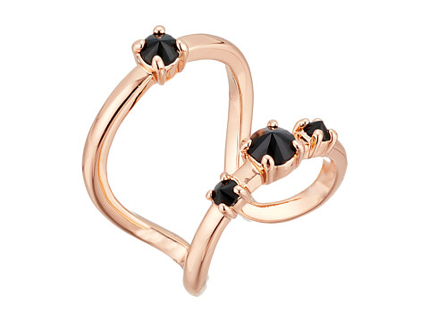 Bijuterii Femei Rebecca Minkoff Stone Negative Space Ring Rose Gold with Jet