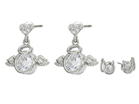 Bijuterii Femei Betsey Johnson Mini CZ's Devil Angel Duo Stud Earrings Crystal