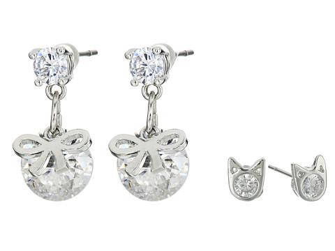 Bijuterii Femei Betsey Johnson Mini CZ's Cat Bow Duo Stud Earrings Crystal