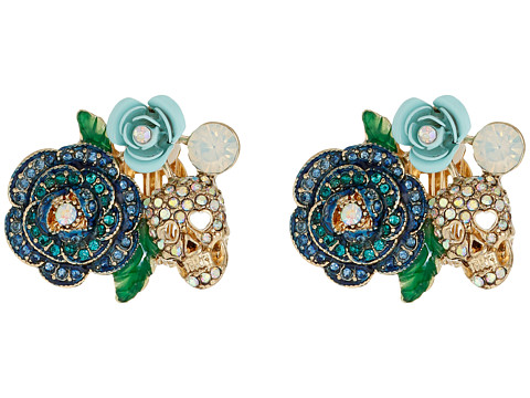 Bijuterii Femei Betsey Johnson Skulls and Roses Flower Clip On Earrings Blue Multi