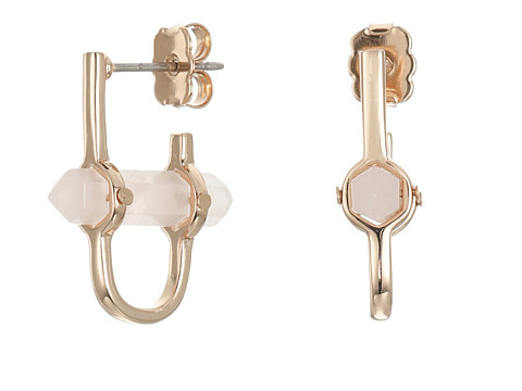 Bijuterii Femei Rebecca Minkoff Raw Crystal Huggie Earrings Rose Gold with Rose Quartz