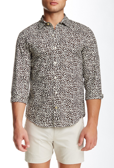 Imbracaminte Barbati Parke Ronen Printed Long Sleeve Slim Fit Shirt Light Leopard