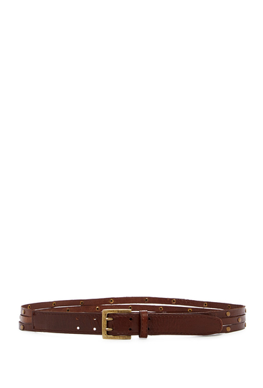 Accesorii Femei Linea Pelle Sliced Leather Stud Belt BROWN