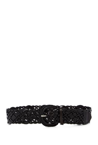 Accesorii Femei Linea Pelle Wide Luxe Leather Braid Belt BLACK
