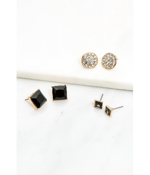 Bijuterii Femei CheapChic Be In Circle Or Square 3 Pair Earring Black