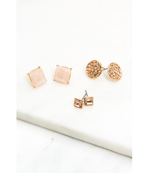 Bijuterii Femei CheapChic Be In Circle Or Square 3 Pair Earring Peach
