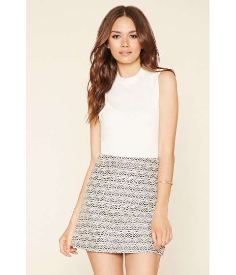 Imbracaminte Femei Forever21 Contemporary Brocade Skirt Navyivory