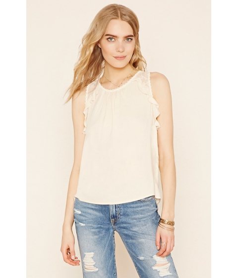 Imbracaminte Femei Forever21 Contemporary Lace-Yoke Top Vanilla