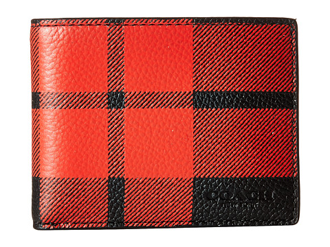 Genti Barbati COACH Mount Plaid Slim Billfold Wallet RedBlack