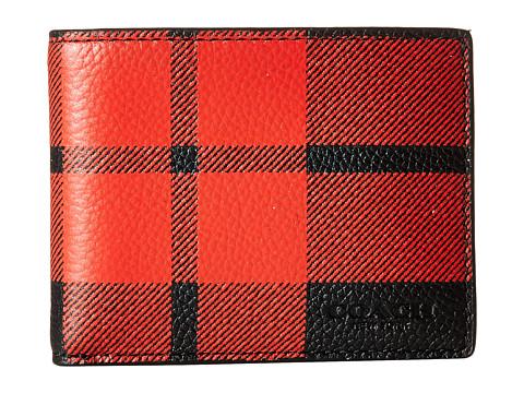 Genti Barbati COACH Mount Plaid Slim Billfold Wallet RedBlack