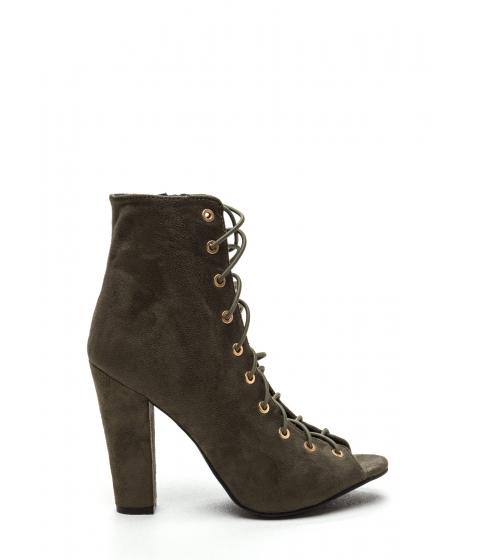 Incaltaminte Femei CheapChic Step Out Faux Suede Lace-up Chunky Heels Olive