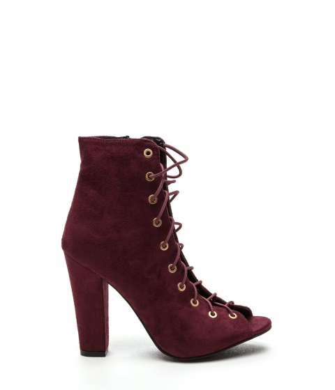 Incaltaminte Femei CheapChic Step Out Faux Suede Lace-up Chunky Heels Wine