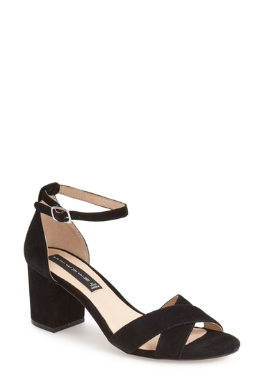 Incaltaminte Femei Steve Madden Voomme Ankle Strap Block Heel Sandal BLACK SUEDE