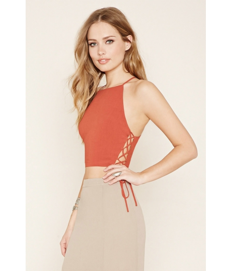 Imbracaminte Femei Forever21 Lace-Up Cropped Cami Rust