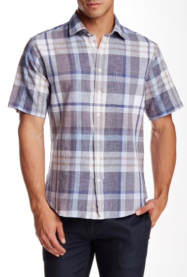 Imbracaminte Barbati Toscano Regular Fit Short Sleeve Plaid Shirt GRAIN