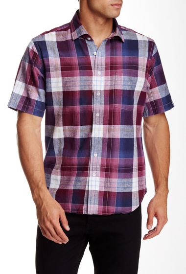 Imbracaminte Barbati Toscano Regular Fit Short Sleeve Plaid Shirt LAVENDER