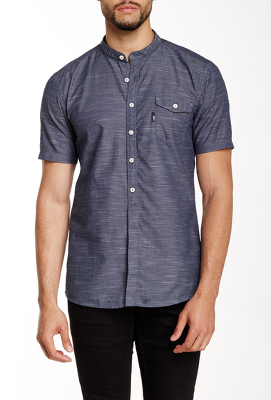 Imbracaminte Barbati Lindbergh Grandad Collar Herringbone Shirt Blue