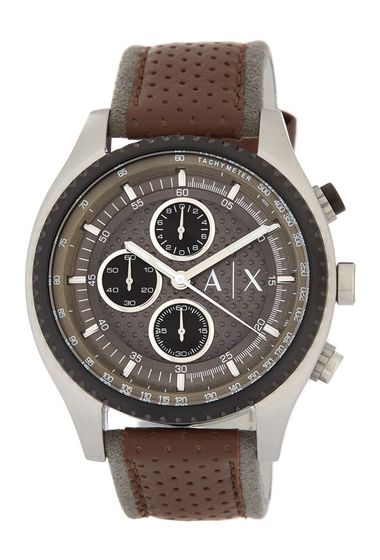 Ceasuri Barbati Armani Exchange Mens Chronograph Leather Strap Watch BROWN AND STAINLESS