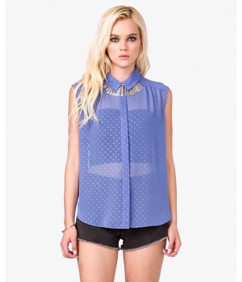 Imbracaminte Femei Forever21 Polka Dot Chiffon Shirt Periwinkle