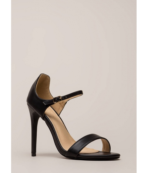 Incaltaminte Femei CheapChic Time 'n Place Strappy Faux Leather Heels Black