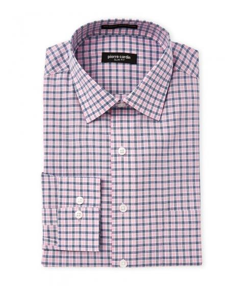 Imbracaminte Barbati Pierre Cardin Pink Blue Plaid Slim Fit Dress Shirt Pink Blue