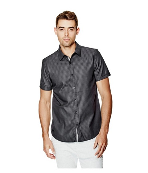 Imbracaminte Barbati GUESS Danilo Dobby Short-Sleeve Shirt jet black