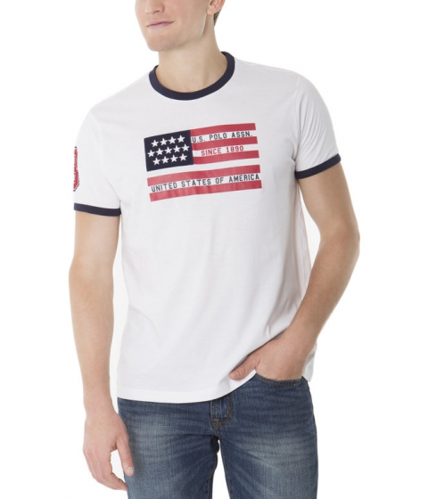 Imbracaminte Barbati US Polo Assn Flag Crew Neck Tee White