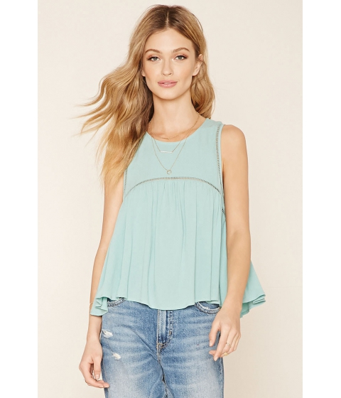 Imbracaminte Femei Forever21 Contemporary Ladder-Trim Top Sage