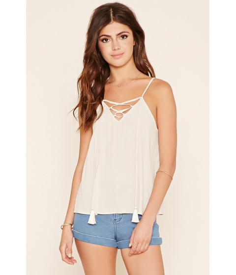 Imbracaminte Femei Forever21 Crinkled Lace-Up Cami Tan