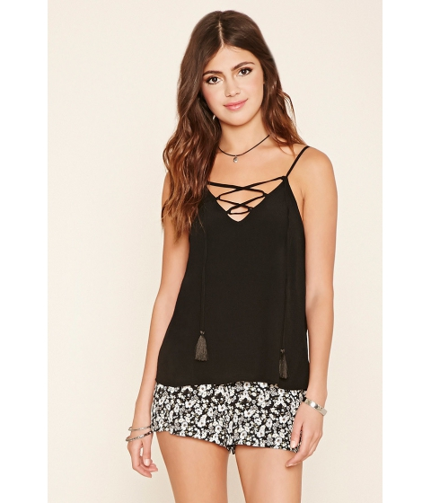 Imbracaminte Femei Forever21 Crinkled Lace-Up Cami Black