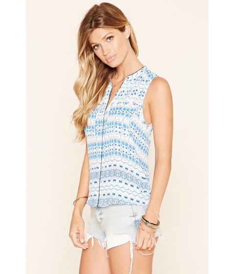 Imbracaminte Femei Forever21 Woven Geo Print Shirt Navy