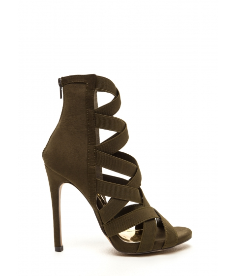Incaltaminte Femei CheapChic Night Life Caged Faux Suede Heels Olive