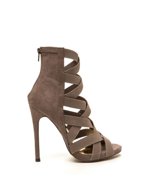 Incaltaminte Femei CheapChic Night Life Caged Faux Suede Heels Taupe