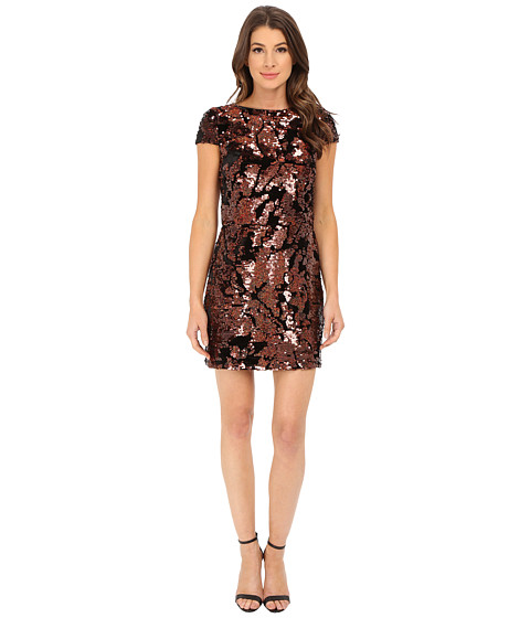 Imbracaminte Femei Vince Camuto Cap Sleeve Velvet Sheath Dress with Flexible Copper Sequins Bronze