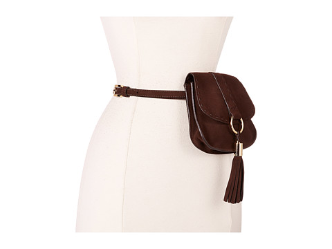 Accesorii Femei MICHAEL Michael Kors 13mm Suede Belt Bag with Heavy Stitch Detail and Front Tassel Chocolate